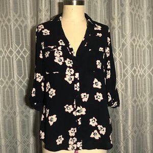 *3/$18*Express The Portofino Shirt Floral Blouse